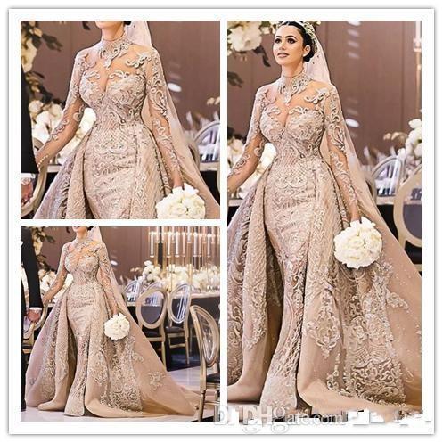 Luxuoso Sereia Champanhe Vestidos de Noiva com Trem Destacável 2019 Árabe Manga Comprida Lace Vestidos de Noiva robe de mariée