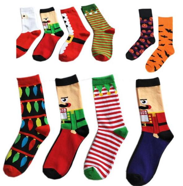 Men's Winter Middle High Socks Christmas Halloween Print Socks Mid-tube Stockings Autumn Spring Casual Underwear Xmas Tree Pumpkin Bat