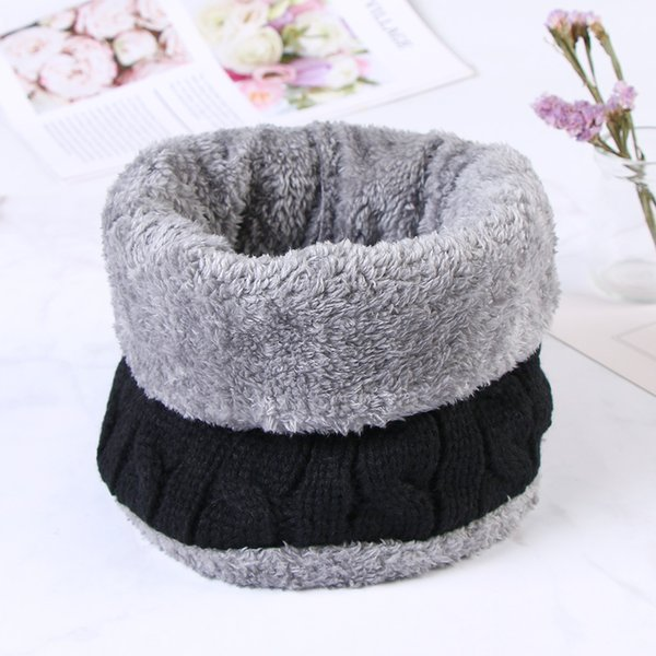 2019 3in1 Fashion Men's Winter Scarf Knitted Black Collar Neck Ring Warm Hat Thick Soft Knitted Cotton Shawl Balaclava For Women