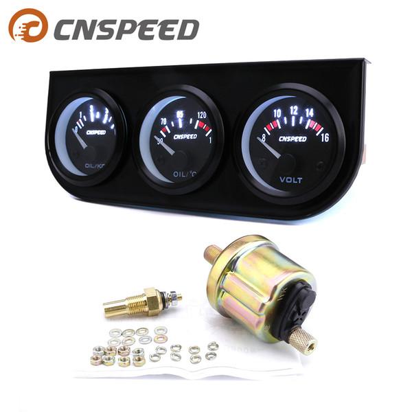 CNSPEED temperatura del aceite de medidor medidor de presión de aceite voltímetro 3 en 1 mesa de 52 mm de triple coche tabla coche coche voltaje