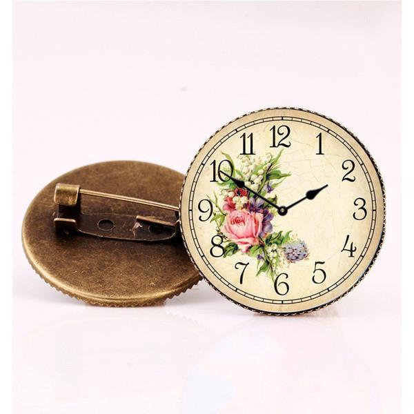 Mignon Kawaii Horloge En Verre Cabochon Forme Broche Bijoux Bronze Couleur Motif À La Fleur Broches Pour Femmes Fille Écharpe Costume Accessoires