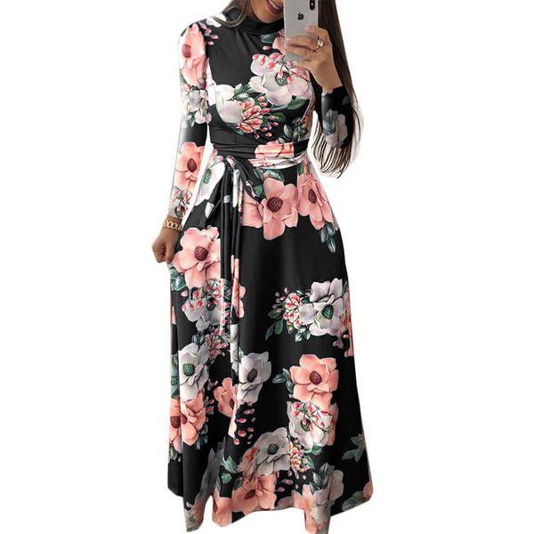 Women Summer Dress Elegant Long Sleeve Party Dress Boho Floral Print Maxi Stand Collar Bandage Casual Dresses Vestidos 3XL