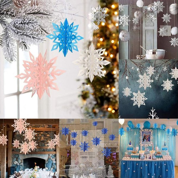 2018 Newest Hot Paper Snowflakes Colorful Xmas Tree Ornament Shimmer Home Christmas Decor