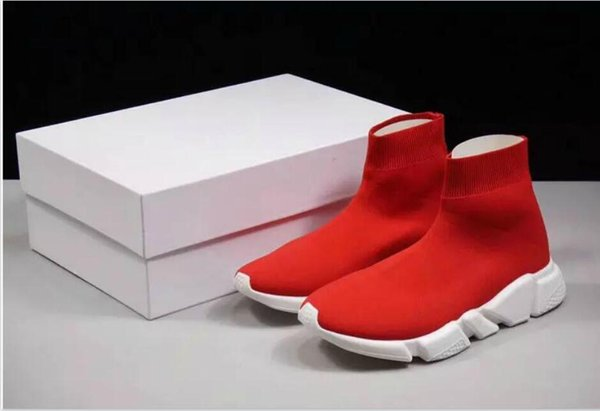 Best Level For Speed Trainer Boots Socks Stretch-Knit High Top Trainer Shoes Cheap Sneaker Black White Woman Man Couples Shoes Casual Boots