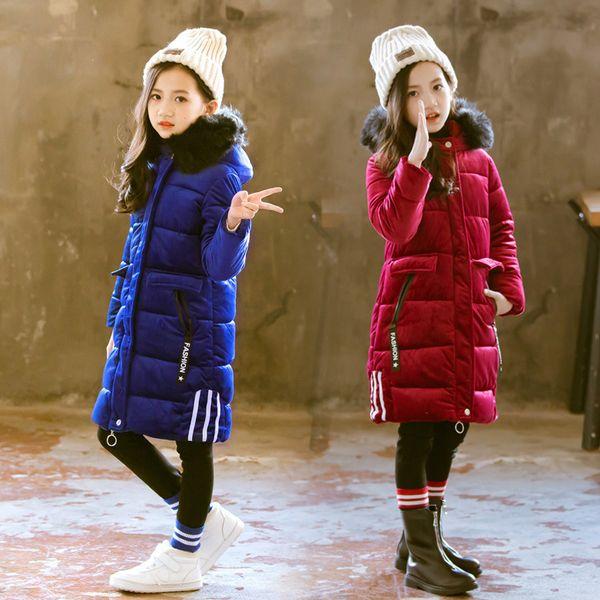 Long Style Winter Girls Jacket Fur Hooded 3 to 12Y Kids Girl Warm Coat Cotton Padded Velvet Fabric Children Girls Winter Parkas