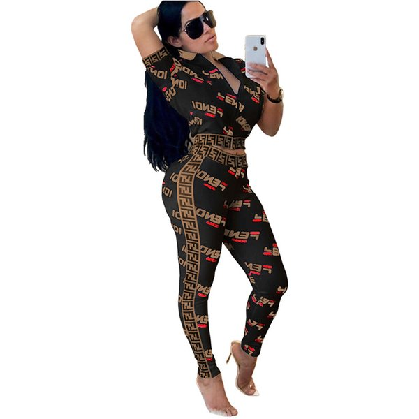 Summer Women Jacket Pants Tracksuit F Letter Printed 2Piece Outfits Short Sleeves Crop Jackets Tops+Tights Leggings Sportssuit Bodysuit C434