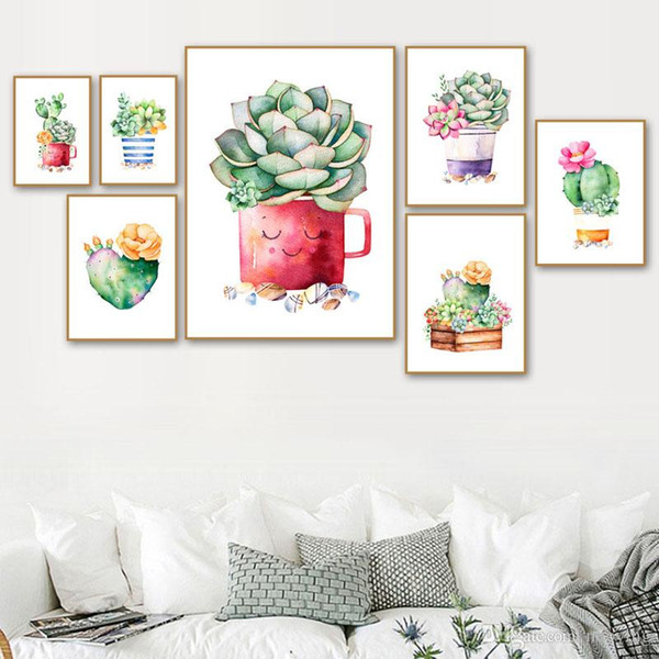 best selling Diamond Painting Nordic Watercolor Cactus Succulent Plant 5d Embroidery Diy Mosaic Art Full Round Drill Home Decor Wall Sticker