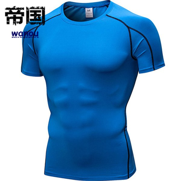 Fashion Quick Dry Compression Men Short Long Sleeve Tee Running Shirt Fitness Workout Tight Tennis Soccer Jersey Gym Breathable Sportswear