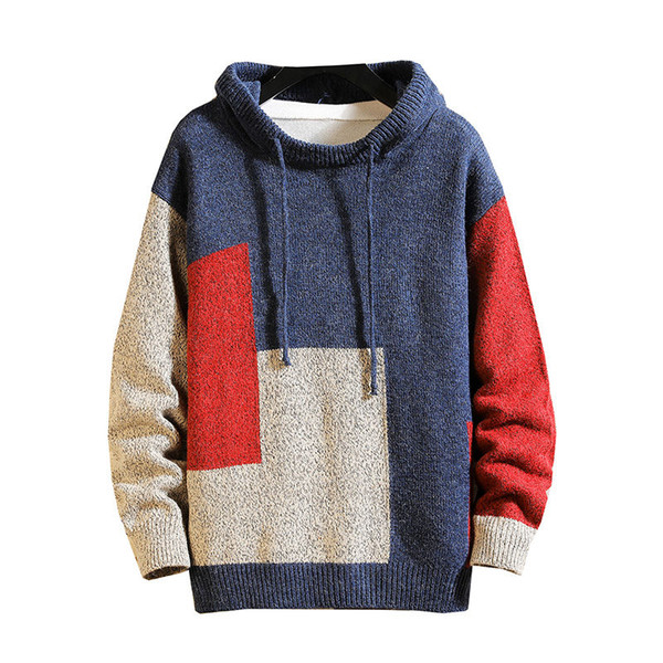 Idopy Men's Sweater Hip Hop Street Style Pullover Patchwork Loose Fit Warm Winter Designer Hooded Sweater
