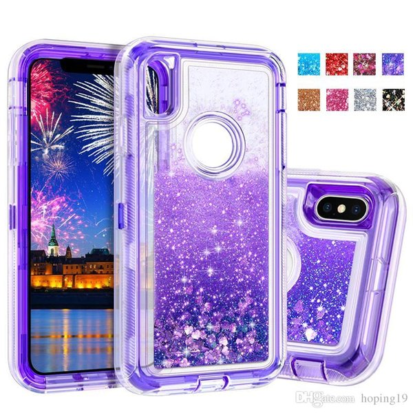 High quality Hybrid 3in1 Defender Robot Quicksand case for iPhone 6 7 8 plus xr xs max Liquid Glitter case for samsung S9 plus note 9