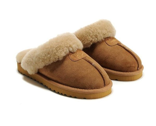 2018 best-selling new flat slippers, 100% genuine leather and velvet slippers, winter indoor cotton slippers, free delivery