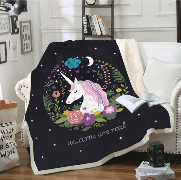 couverture chaude mignon 3D dessin animé licorne velours en peluche jeter des couvertures pour enfants filles noir microfibre lit sherpa couvertures pour canapé