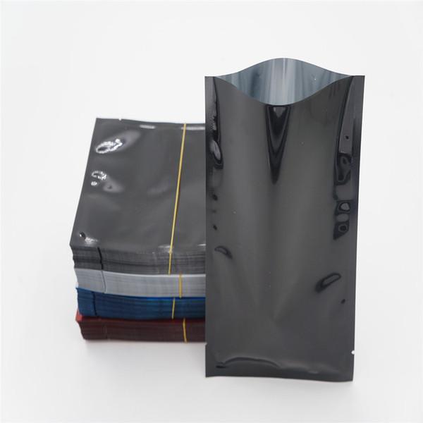 200 adet 6 * 9 cm siyah üstü açık ısı mühür paketi çanta alüminyum folyo mylar çanta küçük düz güç saklama çantası plastik kese