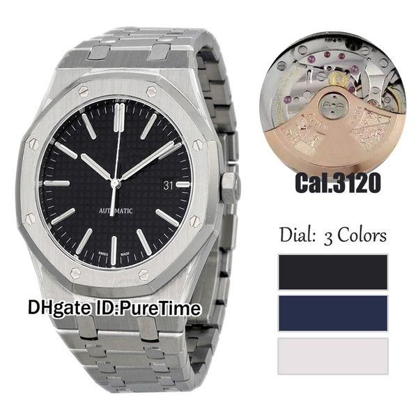Nueva 41mm BFF Real textura Negro Dial Cal A3120 automática del reloj para hombre 15400 de buceo pulsera de acero inoxidable Relojes Mejor Edición Puretime A1