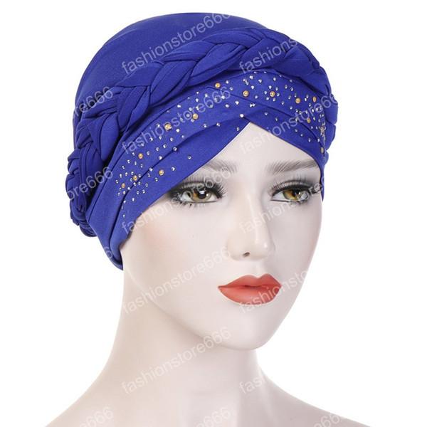 Muslim Braids Braid Cross Drill Baumwolle Silk Turban Hut Krebs Chemo Beanies Cap Weibliche Headwear Headwrap Haarschmuck