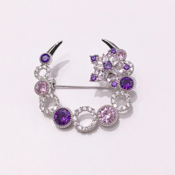 Hot copper plated gold jewelry Beautifully smart rotating star powder purple diamond full diamond circle crescent brooch