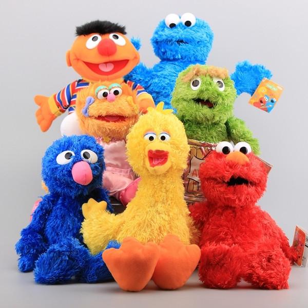 Rua Sésamo 7 Peças Brinquedo Fantoche de Mão de Pelúcia Elmo Biscoito Monstro Ernie Grande Pássaro Grover Bonecas de Pelúcia Crianças Brinquedos Educativos Q190521