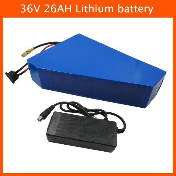 36V 1000W Triángulo batería 36V 26AH Batería de litio para bicicleta eléctrica con bolsa de batería Utilice un cargador de 2600mah celular 42V 2A de Samsung