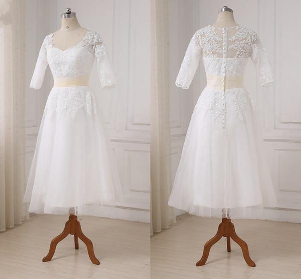 Longueur du thé de mode robes de mariée cou carré creux dos avec fermeture à glissière Tulle appliques dentelle robe de réception de mariage pas cher robes de mariée nouveau