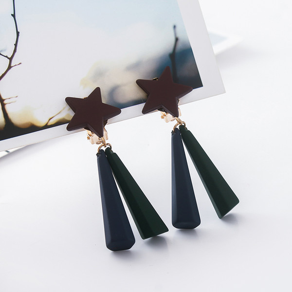 COWNINE DIY Geometric tassel ear clip high-end custom wedding long personality earrings jewelry girl gift