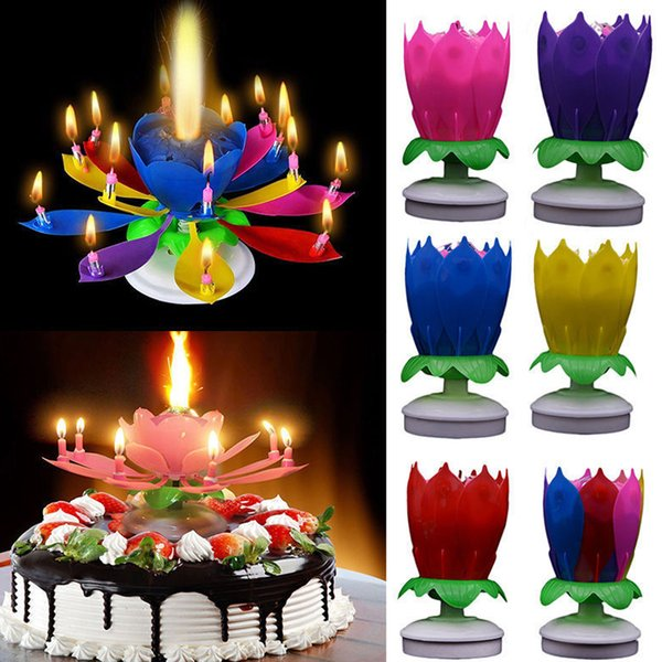 Fashion 1PC Hot Sale Surprise Romantic Candle Cake Musical Lotus Flower Happy Birthday Party Gift Music Candle