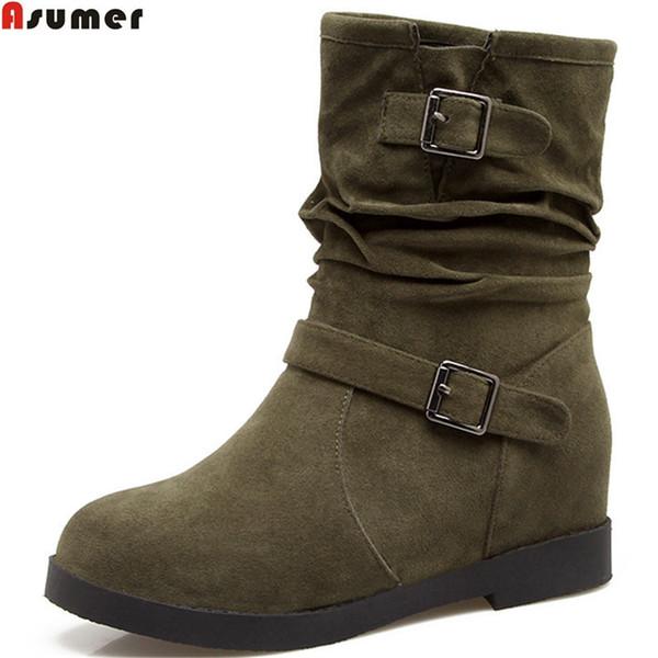 Großhandel Asumer Schwarz Grau Armee Grün Mode Frauen Stiefel Runde Spitze Höhe Zunehmende Damen Stiefel Schnalle Herde Knöchel Große Größe Von Bking,