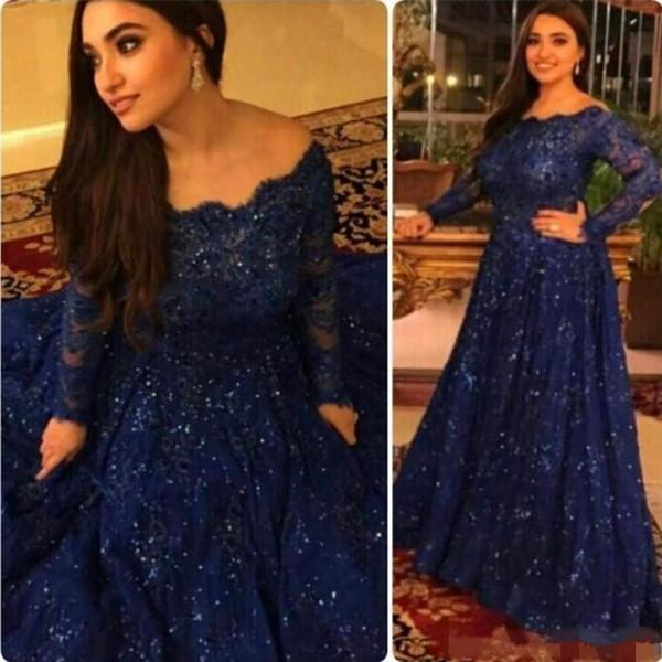 Neue arabische Abaya muslimischen Abendkleid Dark Navy Pailletten Applique Lace Prom Kleid aus Schulter langen Ärmeln besonderen Anlass Kleid