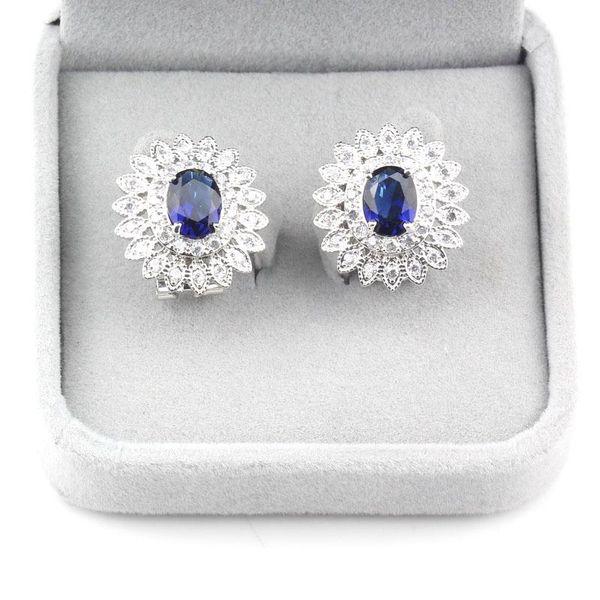 أنبل يونغ أزياء المرأة كليب حلق زهرة كبيرة النمساوية كريستال الأزرق زركون فضة مجوهرات اكسسوارات