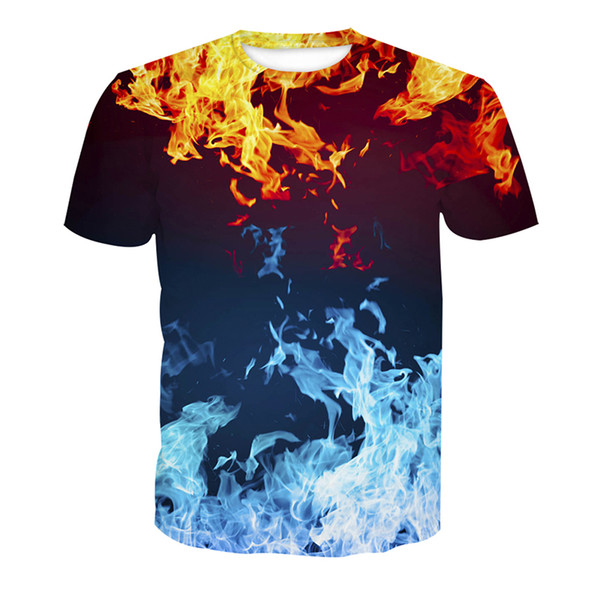 Men T-shirt Ice Fire 3D Digital Full Printed Man Graphic Tee Shirt Casual Tops Unisex Short Sleeves Tees T-Shirts Blouse (RT-3126)