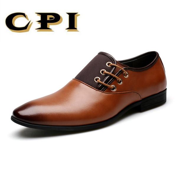 CPI Grande Taille 6.5-12 Nouvelle Mode Hommes Robe De Mariée Chaussures Chaussures Noir Chaussures Bout Rond Plat Affaires Britannique À Lacets ZY-206 Hommes