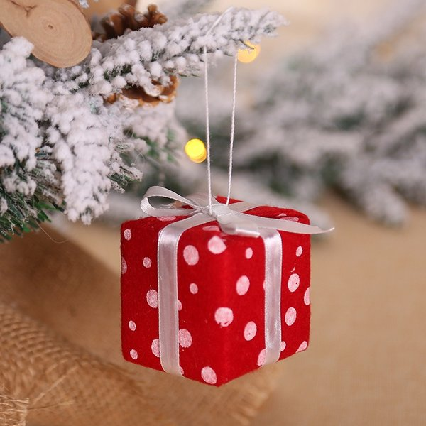 Christmas Tree Gifts Box Hanging Pendant Knitted Christmas Ball Drop Ornaments Festival Home Party Decors