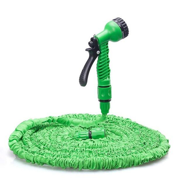 top popular 100FT Expandable Flexible Garden Magic Water Hose With Spray Nozzle Head Blue Green with retail box Free Shipping 50pcs 2021