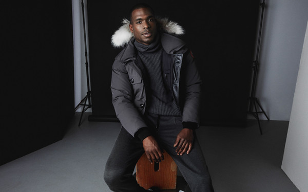 Men Parkas WINTER CANADA BANFF-2 GOOSE Down & Parkas WITH HOOD/Snowdome jacket Real wolf fur Collar White Duck Outerwear & Coats