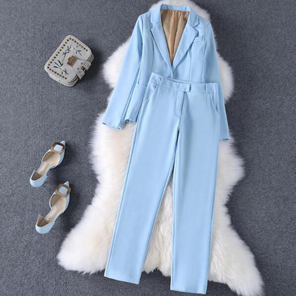 Custom fashion women's blue-style slim single button suit two-piece suit (jacket + pants) women's business formal suit