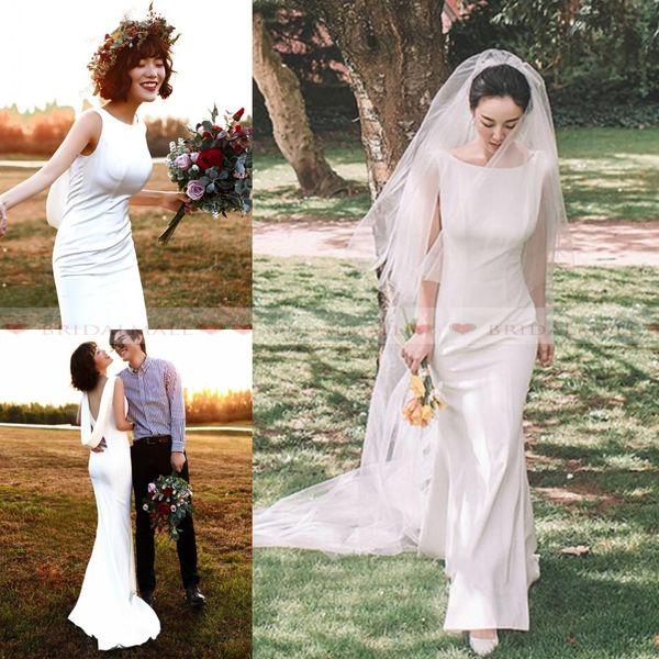2019 New White Mermaid Boho Wedding Dresses Backless Simple Beach Garden Bridal Gowns With Wrap Formal Wedding Guest Dress Vestidos De Novia
