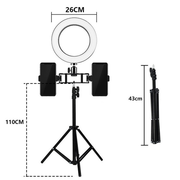 2019 Tycipy Ring Light 26cm 12W Photo Studio Double Phone Clamp LED Selfie  Ring Lamp Photographic Lighting With Tripod For Iphone From Athenal, $45 49