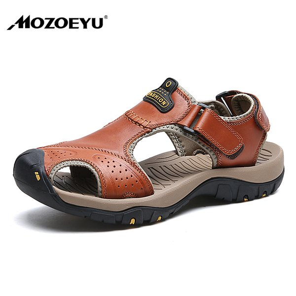 MOZOEYU New Fashion Summer Shoes Cow Leather Men Sandals Mens Casual Shoes Non-slip Rubber Outsoles Beach Plus Size 38-47