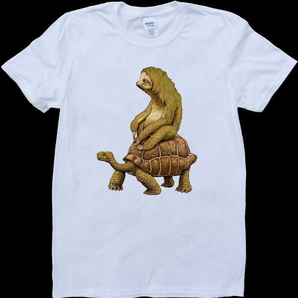 Preguiça Montando uma Tartaruga Tartaruga Branco, Custom Made T-ShirtMen Mulheres Unisex Moda tshirt Frete Grátis