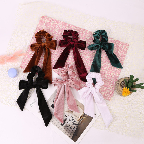 best selling Girls Velvet headrope Women Hair Bow Headband Velvet Elastic Hair Ropes Scrunchies Hair Ties Head Band WWA173