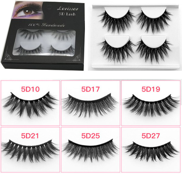 5d eyelashes with packaging box Long Thick Handmade False Eyelash Extensions Eye Makeup Maquiagem 6 styles 4 pcs/pack