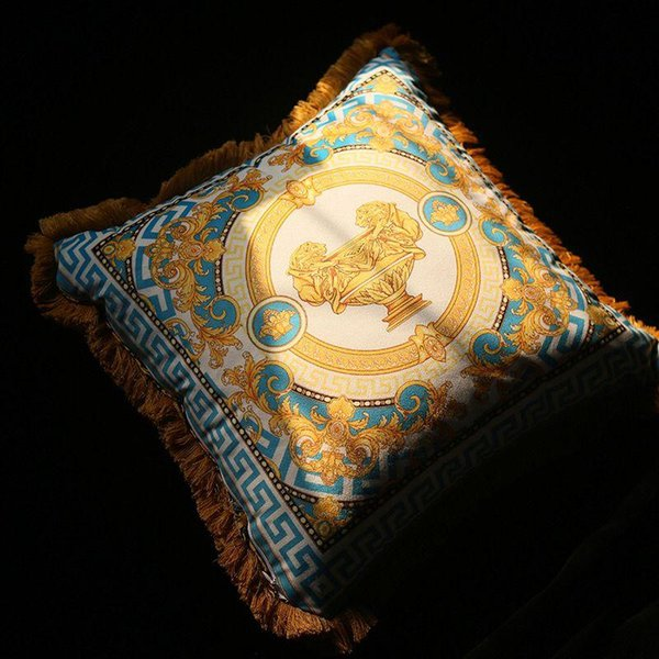 azul almofada ouro