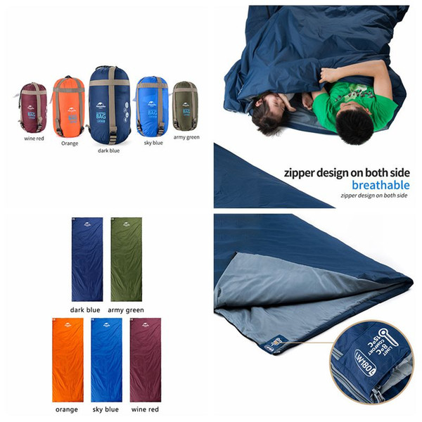 5 Colors 190*75cm Outdoor Portable Envelope Sleeping Bags Travel Bag Hiking Camping Equipment Outdoor Gear Bedding Supplies CCA11712 20pcs