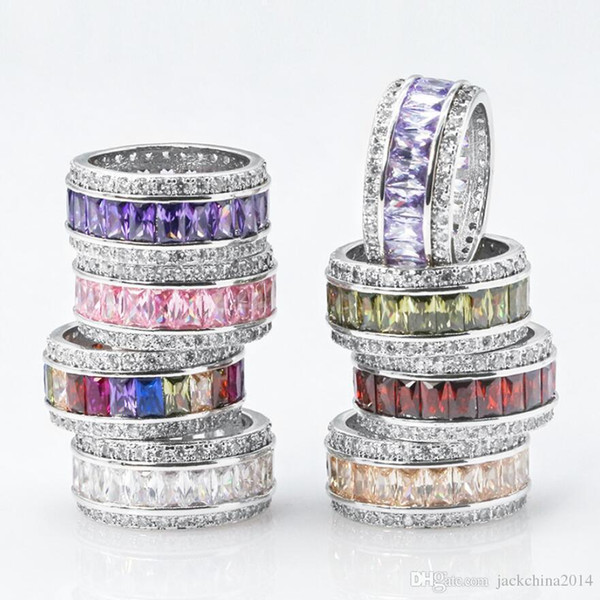 Misura 6-10 gioielli Key4fashion 925 sterling silver principessa taglio multi color cz diamante ametista pietre preziose donne wedding circle band ring regalo