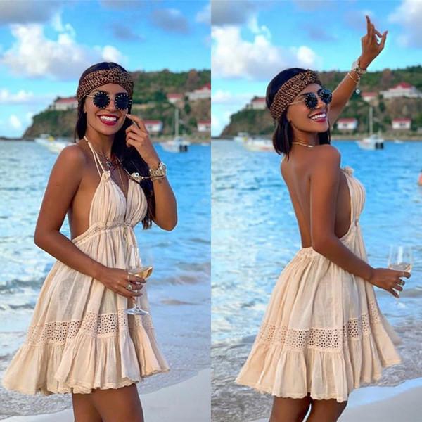 Verão Bohemian Curto Vestido de Festa Barato 2019 Spaghetti Strap Backless Bohemian Beach Holiday Dress Transporte Rápido