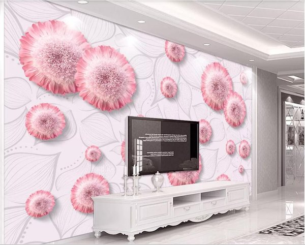 3d wallpaper custom photo murals Background wall Hand painted Nordic fresh sunflower pink beautiful flower home decor wall art pictures