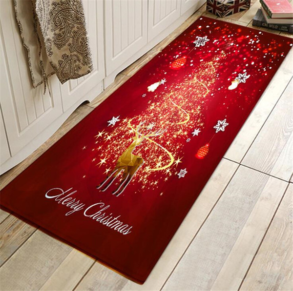 Christmas mat Door carpet Santa Claus Christmas Tree Moon Snowman Doormat rugs Flannel Floor non slip Bath Mats 40cm*60cm