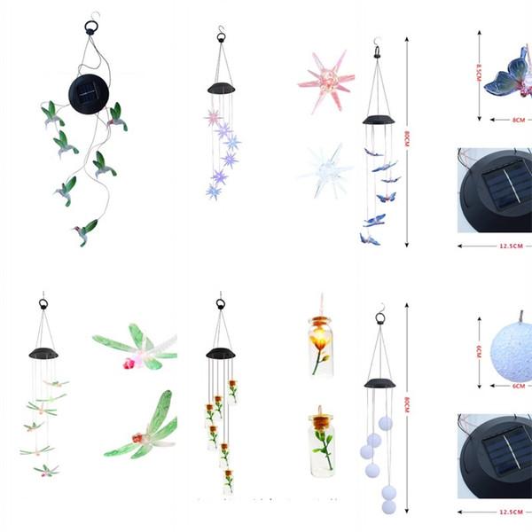 Led énergie solaire Windbell Lampe Libellule Sea Urchin Souhaitant Bouteille Pendentif Lampes Vente Chaude Avec Divers Motif 19 5rr J1