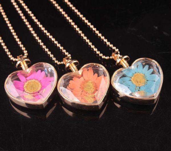 Flower necklace heart shape lampwork glass pendants aromatherapy pendant necklaces pretty dry flowers perfume vial bottle pendants necklace