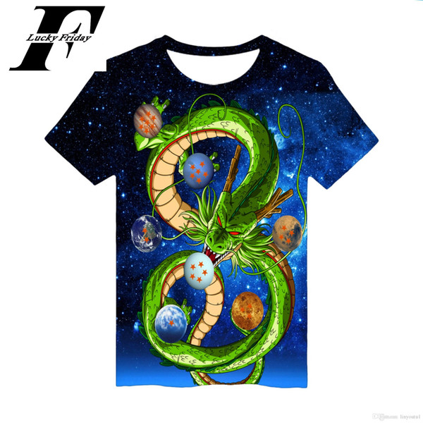 New Dragon Ball Z T-shirts Mens Verão 3D Printing Super Saiyan Goku Preto Zamasu Vegeta Dragonball Casual Camiseta Tops Tee
