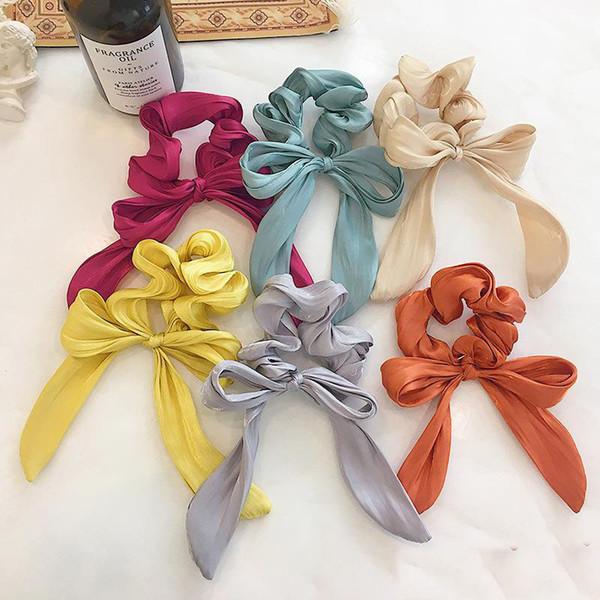 6 colores Mujeres Niñas Sólidos Scrunchies Dulces Anillo elástico Lazos para el cabello Accesorios Soporte para cola de caballo Bandas para el cabello Gomas para el cabello Gomas grandes